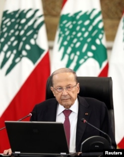FILE - Lebanon's President Michel Aoun delivers a speech from the presidential palace in Baabda, Lebanon, June 25, 2020.
