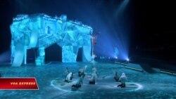 Đoàn xiếc nghệ thuật 'Cirque du Soleil' diễn nhào lộn trên băng