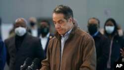 FILE - New York Gov. Andrew Cuomo speaks at a vaccination site in New York, March 8, 2021.