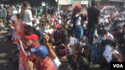 Myanmar Military Coup Protest in Bago, Burma.