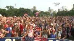 Multitudes celebran triunfo estadounidense en Copa Mundial