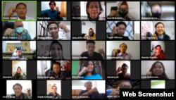 Peserta diskusi Kecenderungan Penyalahguaan Kewenangan dalam Pilkada 2020. (Foto: screenshot)