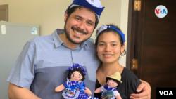 Los líderes opositores Cristhian Fajardo y María Adilia Peralta se exiliaron en EE. UU., tras haber salido de prisión en Nicaragua. Foto archivo VOA.