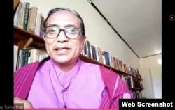 Pendeta Emmy Sahertian dalam sebuah diskusi daring