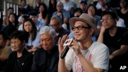 File - June 1, 2019, photo, Hong Kong singer Anthony Wong shares his view on the military crackdown on Tiananmen Square in Hong Kong.