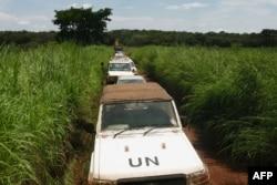聯合國部隊護送一支中非共和國選舉官員的車隊。(2020年9月23日)