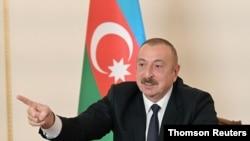 일함 알리예프 아제르바이잔 대통령이 26일 바쿠에서 TV연설을 했다.