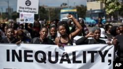 Demonstrasi memrotes semakin melebarnya kesenjangan ekonomi di Nairobi, Kenya, 17 Januari 2020.