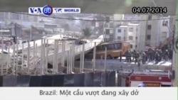 Một cầu vượt đang xây dở đổ ập xuống ở Brazil (VOA60)
