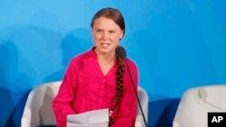 Nhà đấu tranh chống biến đổi khí hậu Greta Thunberg, tại thượng đỉnh Hành động chống BDKH tại trụ sở LHQ ngày 23/9/2019.
