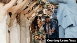 Leena and Nima Vaez celebrate at their March 2020 wedding. (Photo courtesy Leena Vaez)
