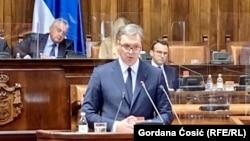 Obraćanje predsednika Srbije Aleksandra Vučića u Skupštini Srbije (Foto: RSE/Gordana Ćosić)