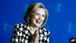 Former US Secretary of State, Hillary Clinton, poses for the photographers during a photo-call for the film 'Hillary' ' during the 70th International Film Festival Berlin, Berlinale in Berlin, Germany, Tuesday, Feb. 25, 2020. (AP Photo/Markus…