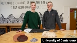 Ben Scales (left) and William Murrell (right) are two students at New Zealand's University of Canterbury. They believe they can make skateboards and other sporting equipement even stronger by using fiber from plants. (University of Canterbury, FILE)