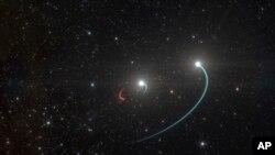 រូបភាពផ្តល់ឲ្យដោយមន្ទីរសង្កេតតារា European Southern Observatory បង្ហាញពីរន្ធខ្មៅក្នុងអវកាសដែលភាសាអង់គ្លេសថា black hole នៅក្នុងចំណោមផ្កាយក្នុងគន្លងដទៃទៀត។