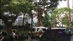 香港警方水炮車清場波及在場採訪記者