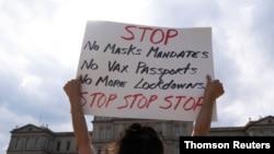 8 Eylül 2021 - Michigan'da aşı karşıtı protestodan bir kare