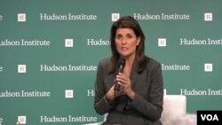 니키 헤일리 전 유엔주재 미국대사가 26일 워싱턴의 민간단체인 허드슨연구소 주최 토론회에 참석했다.