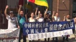 纽约异议人士和大陆访民声援香港七一大游行
