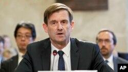 عکس آرشیوی از دیوید هیل، معاون سیاسی وزیر خارجه آمریکا، در کنفرانس ۲۰۱۸ افغانستان