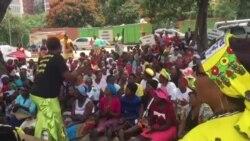 Pro-Grace Mugabe Protesters Dancing Outside Zanu PF Headquarters