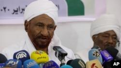 Sadiq al-Mahdi, umukuru w'umugambwe wa politike Umma mu kiganiro n'abamenyeshamakuru i Khartoum, kw'italiki 6/02/2020