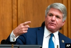 FILE - Committee Ranking Member Rep. Michael McCaul, R-Texas, speaks during a House Committee on Foreign Affairs hearing on Capitol Hill, Sept. 16, 2020.