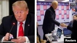A la izquierda, el presidente Donald Trump supuestamente escribiendo un tuit sobre la reapertura económica en medio de la crisis del coronavirus. A la izquierda, el virtual candidato demócrata, Joe Biden, visitando un centro de voluntarios en Des Moines.