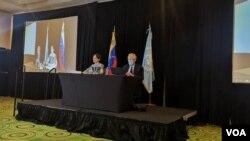 La relatora especial de las Naciones Unidas sobre medidas coercitivas unilaterales y derechos humanos, Alena Douhan, en conferencia de prensa en Caracas, Venezuela, el 12 de febrero de 2021.