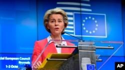 European Commission President Ursula von der Leyen speaks during a press conference at an EU summit in Brussels, Oct. 2, 2020.