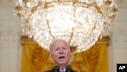 조 바이든 미국 대통령이 16일 워싱턴 백악관에서 아프가니스탄 상황에 관해 연설했다.