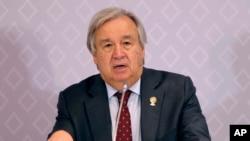 លោក Antonio Guterres អគ្គលេខាធិការអង្គការសហប្រជាជាតិ ថ្លែងនៅក្នុងសន្និសីទមួយក្នុងពេលចូលរួមក្នុងកិច្ចប្រជុំកំពូលអាស៊ាន ក្នុងក្រុង Nonthaburi ប្រទេសថៃ កាលពីថ្ងៃទី៣ ខែវិច្ឆិកា ឆ្នាំ២០១៩។
