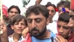 احتجاج میں شرکت کے لیے آنے والے مظاہرین