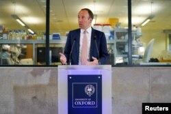 FILE - Britain's Health Secretary Matt Hancock delivers a speech on the COVID-19 vaccine program at the Jenner institute in Oxford, Britain, June 2, 2021.