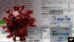중국 국립 바이오테크 그룹(CNBG)이 개발한 신종 코로나바이러스 백신이 지난달 베이징에서 열린 무역박람회에 전시됐다.