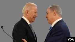 Joe Biden, então vice-presidente americano, e Benjamin Netanyahu, primeiro-ministro israelita, em 2016