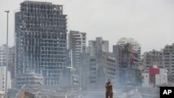 محل انفجار در بندر بیروت در لبنان. آرشیو