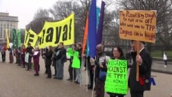 TPP签署前美活动人士聚集在白宫前抗议