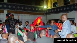 Malawi Congress Party supporters celebrate Lazarus Chakwera's win the country's historic presidential election rerun in Blantyre, Malawi, June 27, 2020. (Lameck Masina/VOA)