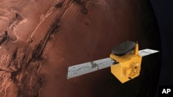 This June 1, 2020, rendering provided by Mohammed Bin Rashid Space Centre shows the Hope probe. The U.S., China and the United Arab Emirates are sending spacecraft to Mars in quick succession beginning this week.