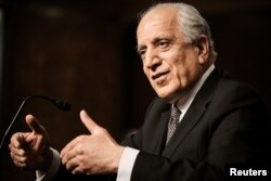 FILE - Zalmay Khalilzad, special envoy for Afghanistan Reconciliation, testifies during a Senate Foreign Relations Committee hearing on Capitol Hill, April 27, 2021.