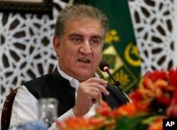 샤 메흐무드 쿠레시 파키스탄 외무장관이 24일 이슬라마바드에서 기자회견을 했다.