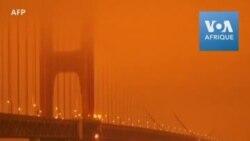 Ciel orange à San Francisc à cause des incendies historiques