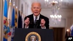 조 바이든 미국 대통령이 지난 11일 위싱턴 백악관에서 신종 코로나바이러스 감염증 대유행 선언 1주년 연설을 했다.