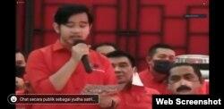 Putra Presiden Jokowi, Gibran Rakabuming, menyampaikan pidato usai mendapat rekomendasi untuk maju di Pilkada Solo 2020, 17 Juli 2020.