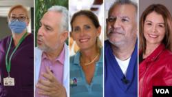 Fotografía combinada de rostros de algunos de los protagonistas del especial de la Voz de América cuando conmemoramos el primer año de la pandemia. [Foto: VOA]