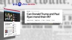 """Manchetes Americanas 12 Maio: Trump e Ryan à procura de """"unidade republicana"""""""
