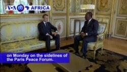 VOA60 Africa - Ivory Coast President Alassane Ouattara met with French President Emmanuel Macron