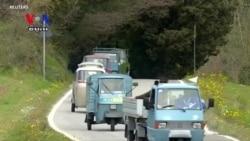 Swarm of Custom Italian Scooter-Vans Buzz Through Tuscan Terrain