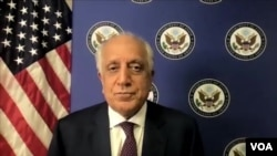 The U.S. Special Representative for Afghanistan reconciliation, Zalmay Khalilzad, talks to VOA on Zoom, Aug. 2, 2021.